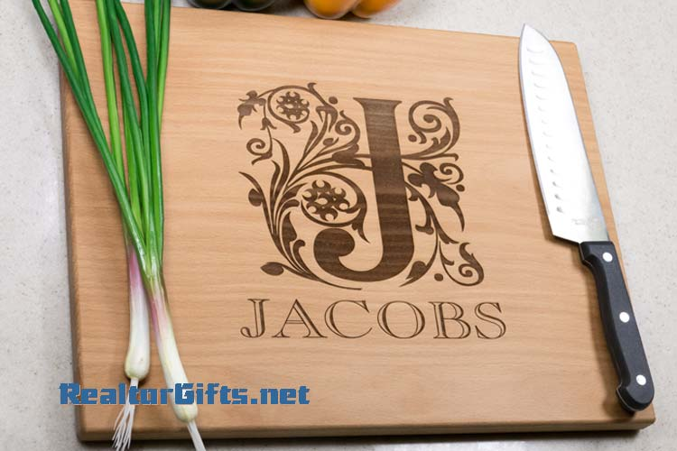 Floral Font Cutting Board M22