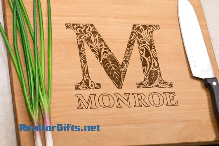 Floral Monogram Cutting Board M21