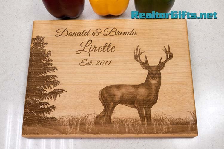 Deer & Evergreen Cutting Board DE2