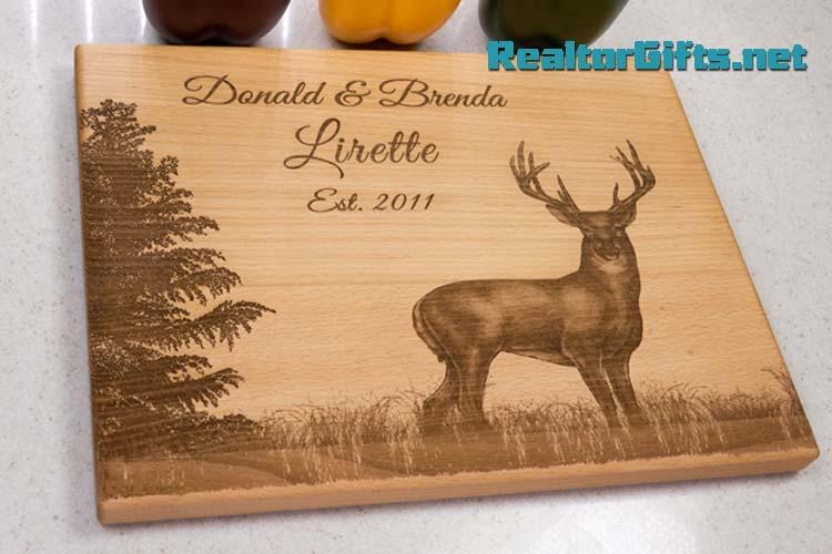 Deer & Evergreen Cutting Board DE2